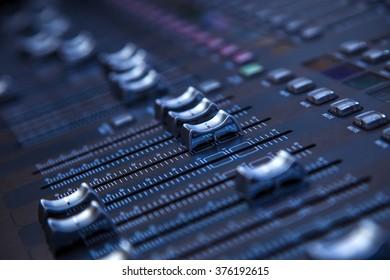 Professional studio equipment for sound mixing .