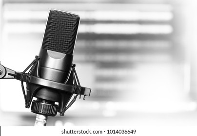 professional studio microphone close up with copy space