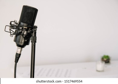 Professional studio microphone on a modern tripod, very convenient and practical. White background. Place for text or advertising