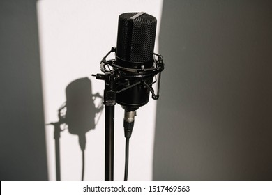 Professional studio microphone on a modern tripod, very convenient and practical. White background with shadow on the wall