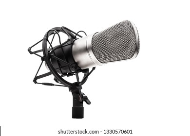 professional studio microphone on a vibrations stand, against white background