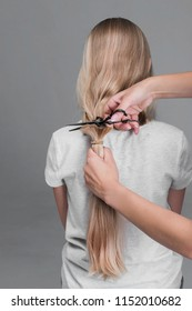 Professional stylist cutting off woman's hair, Female hairdresser hold in hand blonde hair, comb and scissors closeup. Keratin restoration, latest trend, fresh idea, haircut picking, shorten tips, ins