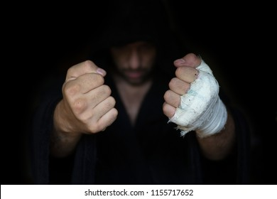 Professional taping. Boxers fists before rumble. Ready to fight.