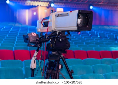 A professional television camera for filming concerts and events for a mobile TV studio