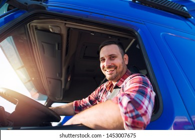 Professional truck driver ready for job. Transportation service.