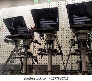 Professional tv camera in live show pavilion. Professional digital video camera. cinematography in the pavilion.