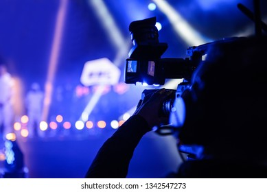 Professional TV cameraman