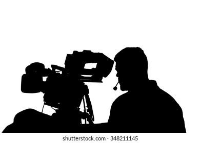 Professional TV cameraman with camera and headphones silhouette