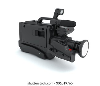 Professional video camera isolated on white background. 3d illustration.