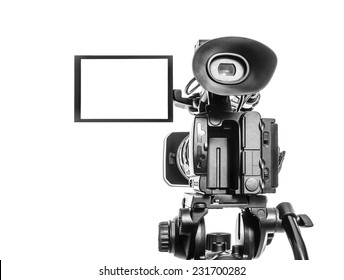 Professional video camera isolated over white
