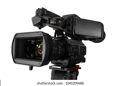 Professional video camera pointing to camera left. Excellent Clipping Path. Video concept.