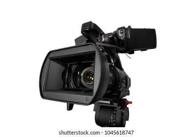 Professional video camera pointing to left. With Clipping Path. Studio photography.