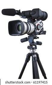 Professional video camera set on a tripod (with excellent clipping path)