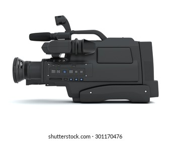 Professional video camera side view isolated on white background. 3d.