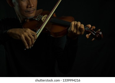 Professional violins playing close up musician