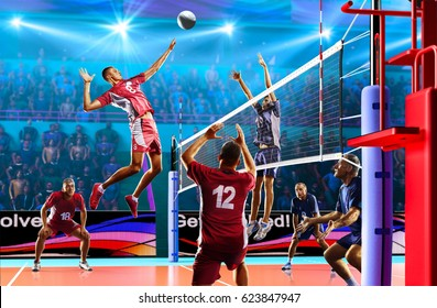 Professional volleyball players in action on the grand court