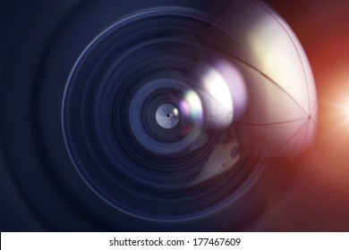Professional Wide Angle Photo Lens - Lens Glass Closeup Background.