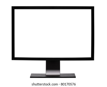 Professional  widescreen monitor with blank white screen. Isolated on white background.