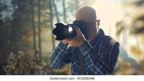 Professional wildlife photographer shooting in a forest with a digital camera