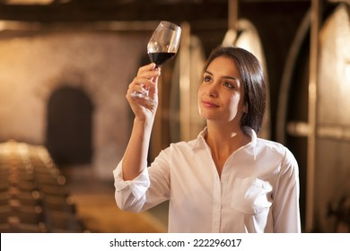 Professional winemaker female tasting a glass of red wine in his traditional cellar surrounded by wooden barrels