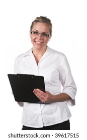 Professional woman with clipboard