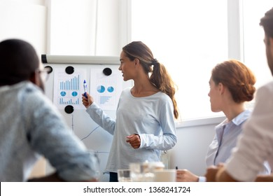 Professional woman leader presenter give business presentation at office conference meeting, businesswoman coach mentor explain graph chart on flipchart corporate group workshop training in boardroom