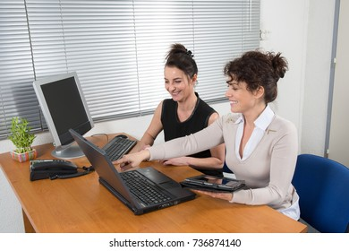 Professional women in discussion in office, working with laptop