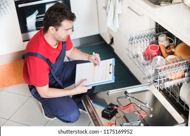 Professional worker estimating cost for broken dishwasher