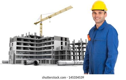 Professional workman in blue coveralls and safety helmet at construction site
