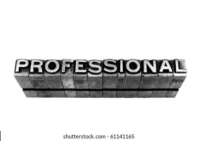 PROFESSIONAL written in metallic letters on a white background