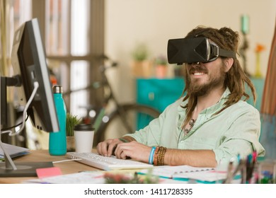 Professional young man with a virtual reality headset