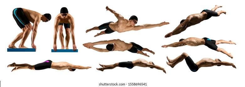 Professional young muscular swimmer isolated on white background