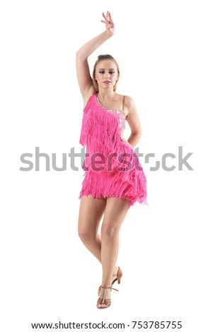9458dbc4e Professional young woman dancer with arm raised up dance posture. Full body  length portrait isolated on white studio background. - Image