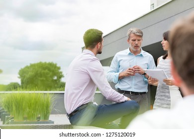 Professionals discussing over documents with colleagues at office terrace