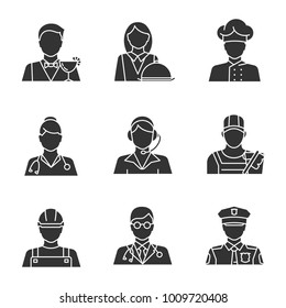 Professions glyph icons set. Occupations. Doctor, call center operator, cook, policeman, builder, cleaner, barman, waitress. Silhouette symbols. Raster isolated illustration