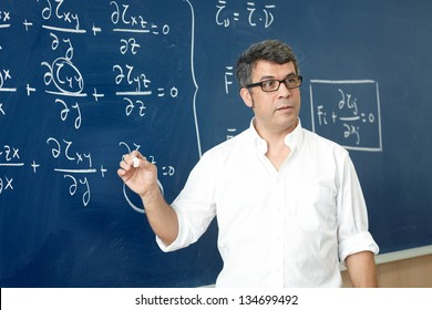 Professor giving class at the classroom