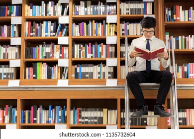 The professor librarian sitting on stairs for searching knowledge, reading book in the library.