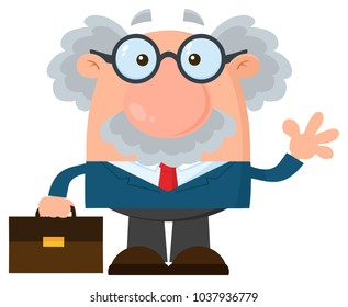 Professor Or Scientist Cartoon Character With Briefcase Waving. Raster Illustration Flat Design Isolated On White Background