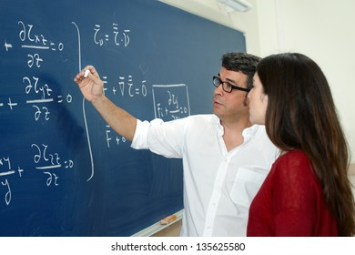 Professor and student in the classroom