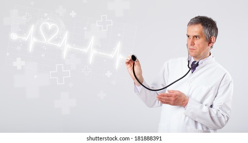 Proffesional doctor examinates heartbeat with abstract heart