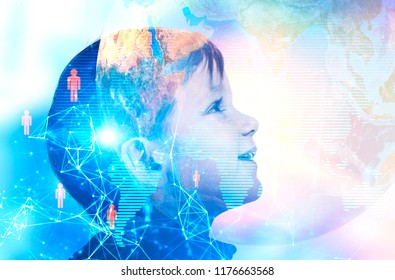 Profile of adorable little boy looking up and smiling. Planet network of people. Global world and future concept. Toned image double exposure mock up Elements of this image furnished by NASA