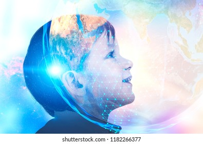 Profile of adorable little boy looking up and smiling. Planet Earth in space, polygons. Global world and ai future concept. Toned image double exposure mock up Elements of this image furnished by NASA