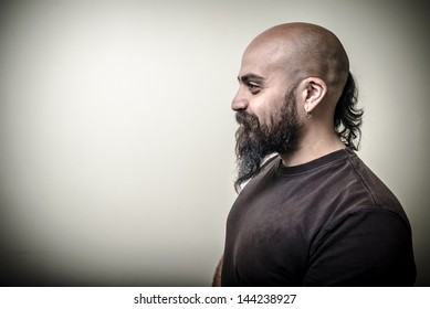 profile bearded man isolated on gray background