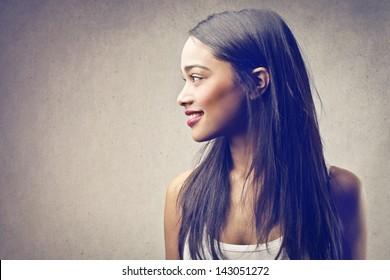 profile of beautiful black woman