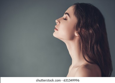 Beauty Woman Face Side Profile Eyes Closed Images Stock Photos Vectors Shutterstock