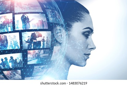 Profile of beautiful woman with double exposure of planet hologram and picture thumbnails. Concept of internet, streaming technology and communication. Toned image
