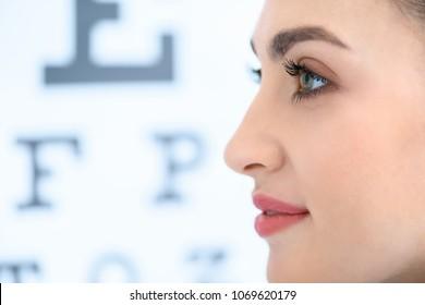 profile of beautiful woman with eye test in optics