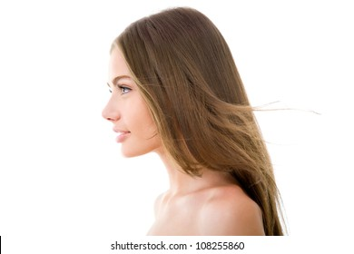 Profile of a beautiful woman with long hair