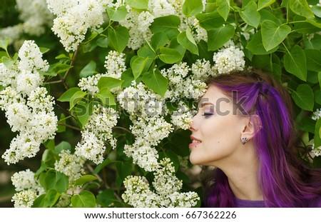 Profile Beautiful Young Woman Purple Hair Stock Photo Edit Now
