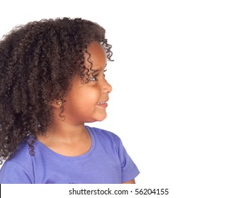 Profile of beauty african child isolated on white background